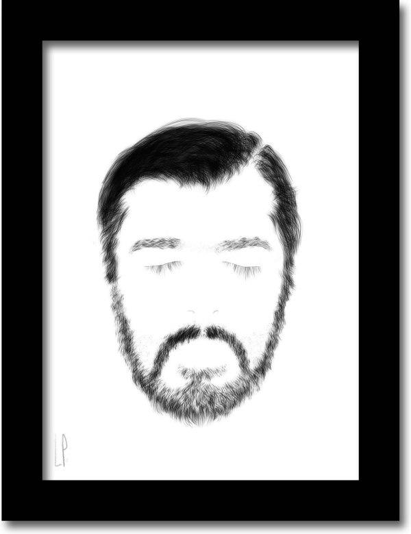[ VENDU moyen format 1/3 ] Le cerf ectomorphe - détail / Luc Pallegoix, 2013. Encre pigmentaire sur papier Moab blanc 300 gr. Disponible en moyen format | 8,5 x 10 3 ex. |