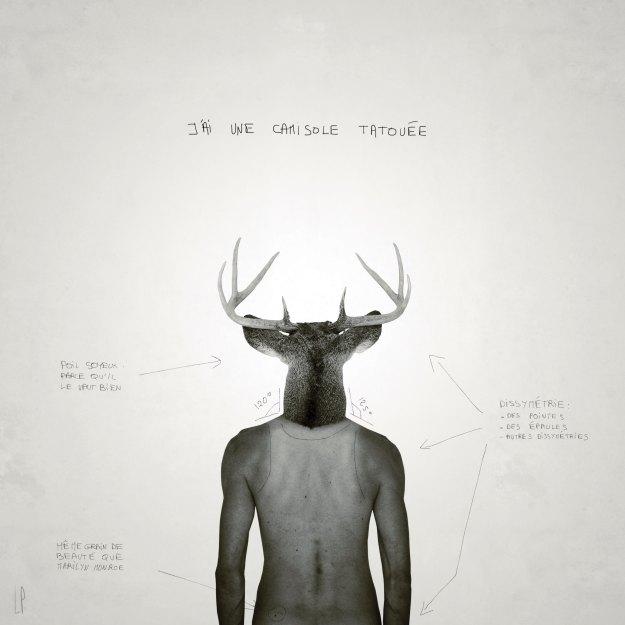 La camisole tatouée #3 / Luc Pallegoix, 2013. Encre pigmentaire sur papier Moab blanc 300 gr. Disponible en grand format |50 x 50 cm 5 ex.| ou moyen format | 23 x 23 cm 10 ex. |