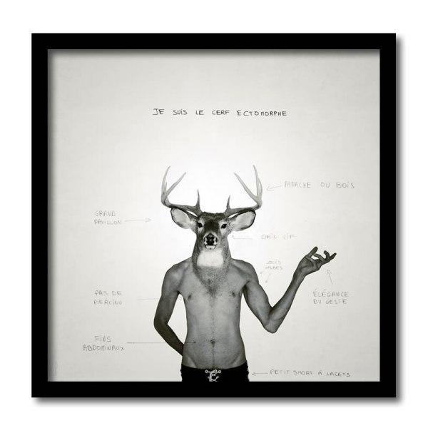 [ VENDU grand format 1/5 ] Le cerf ectomorphe #3 / Luc Pallegoix, 2013. Encre pigmentaire sur papier Moab blanc 300 gr. Disponible en grand format |50 x 50 cm 5 ex.| ou moyen format | 23 x 23 cm 10 ex. | ou petit format | 12,5 x 12,5 cm 15 ex. |