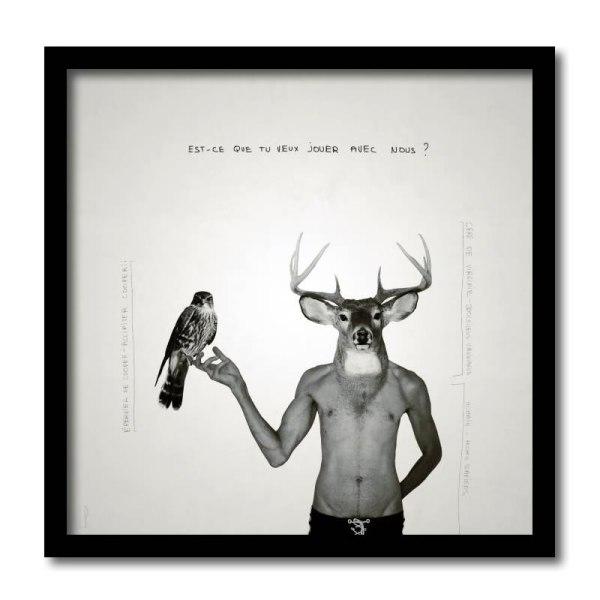[ VENDU grand format 1/5 ] Le cerf et l'épervier de Cooper #3 / Luc Pallegoix, 2013. Encre pigmentaire sur papier Moab blanc 300 gr. Disponible en grand format |50 x 50 cm 5 ex.| ou moyen format | 23 x 23 cm 10 ex. | ou petit format | 12,5 x 12,5 cm 15 ex. |