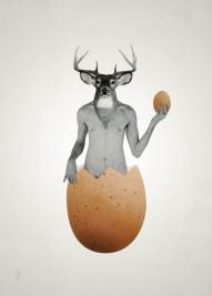 L'oeuf de cerf / Luc Pallegoix, 2014. Encre pigmentaire sur papier Moab blanc 300 gr. Disponible en grand format |50 x 50 cm 5 ex.| ou moyen format | 50 x 70 cm 5 ex.