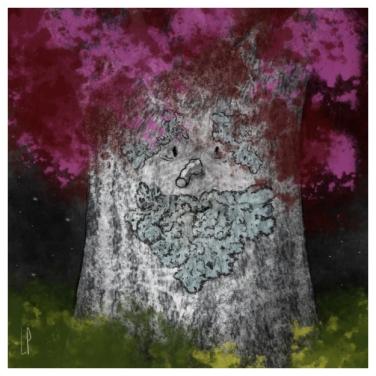 Un arbre – Strophe 6 / Luc Pallegoix, 2014. Tirage d'art, encre pigmentaire sur papier Moab blanc 300 gr. Disponible en moyen format   23 x 23 cm 10 ex.  