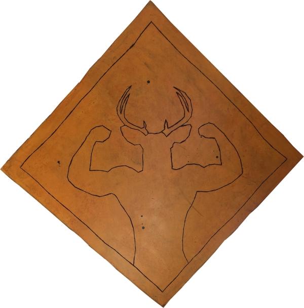 Attention au cerf fort ! / Luc Pallegoix, 2016. Acrylique sur bois brodé au Phentex, 120 x 120 cm.