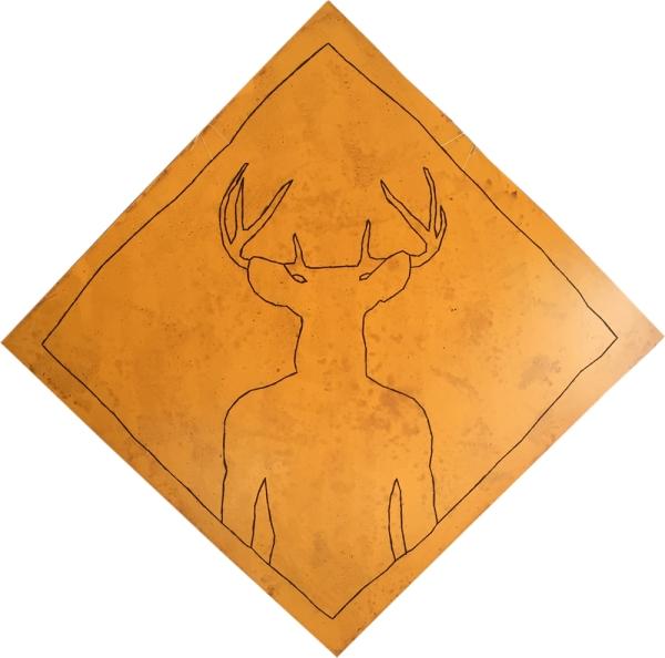 Attention au cerf ! KINKY ! / Luc Pallegoix, 2015. Acrylique sur bois brodé au Phentex, 120 x 120 cm.