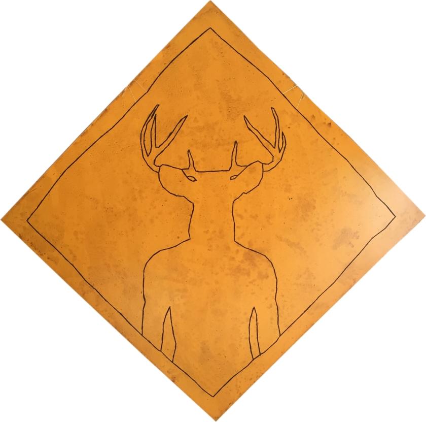 Attention au cerf ! / Luc Pallegoix, 2015. Série : Planches brodées - Embroidered board. Acrylique sur bois brodé au Phentex, 120 x 120 cm. 700 $ + taxes Jusqu'au 31 décembre 2017.