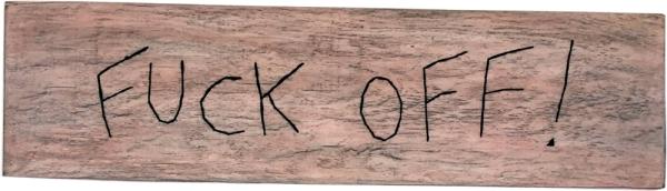 Fuck off ! / Luc Pallegoix, 2015. Acrylique sur bois brodé au Phentex, 125 x 33 cm.