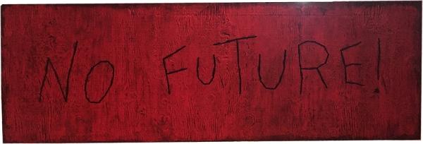 No Future ! / Luc Pallegoix, 2015. Acrylique sur bois brodé au Phentex, 122 x 40 cm.