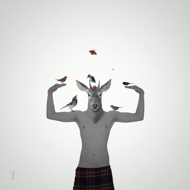 L'apprenti oiseleur au kilt / Luc Pallegoix, 2015. Encre pigmentaire sur papier Moab blanc 300 gr. Disponible en grand format |50 x 50 cm 5 ex.| ou moyen format | 23 x 23 cm 10 ex. |