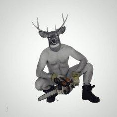 Le tronçonneur / Luc Pallegoix, 2016. Encre pigmentaire sur papier Moab blanc 300 gr. Disponible en grand format |50 x 50 cm 5 ex.| ou moyen format | 23 x 23 cm 10 ex. |
