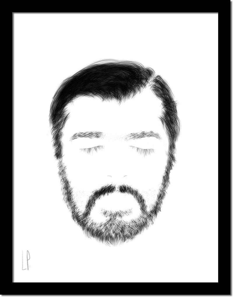 Barbu / Luc Pallegoix, 2014. Encre pigmentaire sur papier Moab blanc 300 8,5*11 pouces, 1/3.