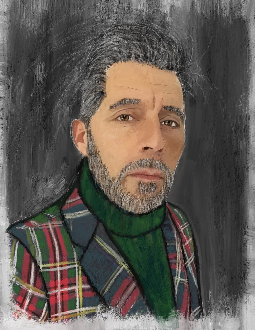 L'HOMME AU TARTAN / Luc Pallegoix, 2016. Peinture numérique puis encre pigmentaire sur papier Moab blanc 300 gr. [50 X 70 cm]