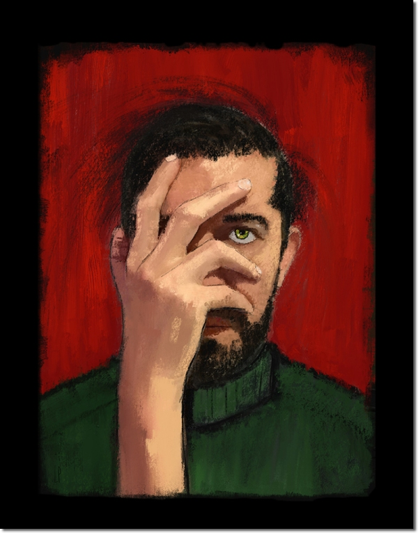 THE FACEPALM / Luc Pallegoix, 2016. Peinture numérique puis encre pigmentaire sur papier Moab blanc 300 gr. [31 X 41 cm] Encadré en noir. 1800 $ + taxes