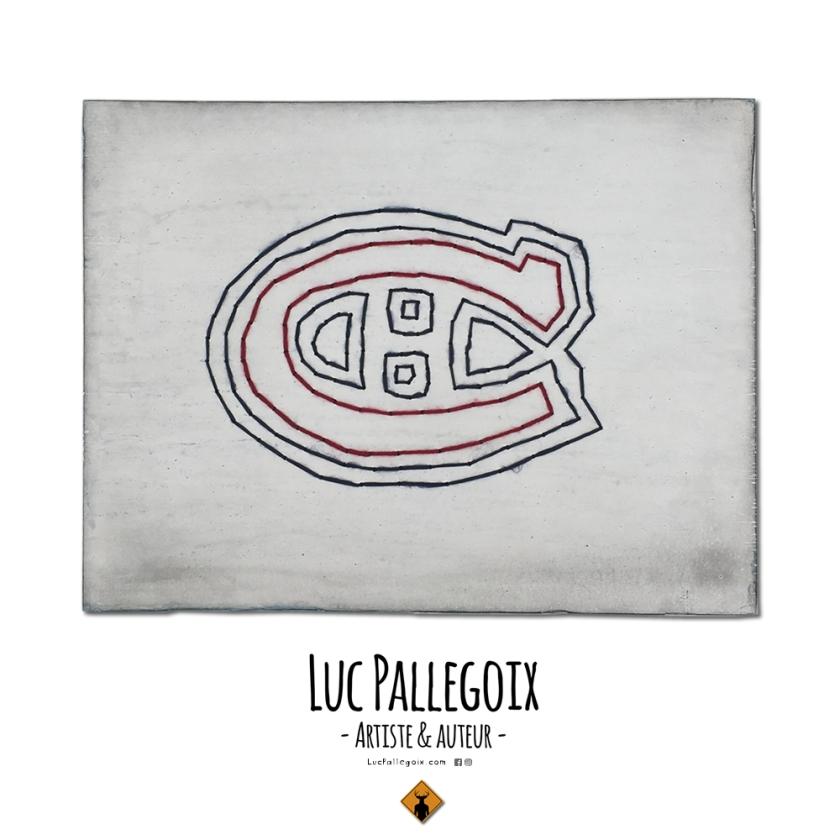 Go Habs go ! / Luc Pallegoix, 2017. Série : Planches brodées - Embroidered board  Acrylique sur bois brodé au Phentex, 70 x 54 cm 28 x 21 pouces.  💵 700 $ + taxes Jusqu'au 31 décembre 2017. 🌍 Catalogue : https://lucpallegoix.com/planches-brodees/ 📬 Contact : lucpallegoix.com/hello/ 📷 Instagram : instagram.com/lucpallegoix/ 🏛 Atelier : atelierauckland.com