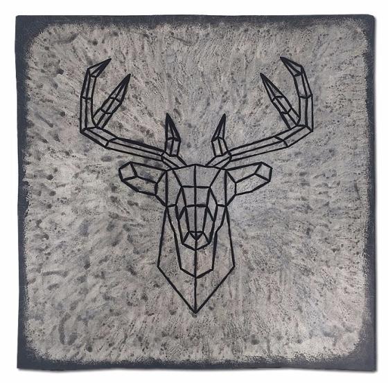 Le cerf vidé #2 ! / Luc Pallegoix, 2017. Série : Planches brodées - Embroidered board Acrylique sur bois brodé au Phentex, 60 x 60 cm. 💵 450 $ + taxes Jusqu'au 31 décembre 2017.