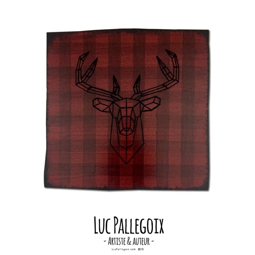 Le cerf vidé #3 ! / Luc Pallegoix, 2017. Série : Planches brodées - Embroidered board Acrylique sur bois brodé au Phentex, 60 x 60 cm. 💵 450 $ + taxes Jusqu'au 31 décembre 2017.