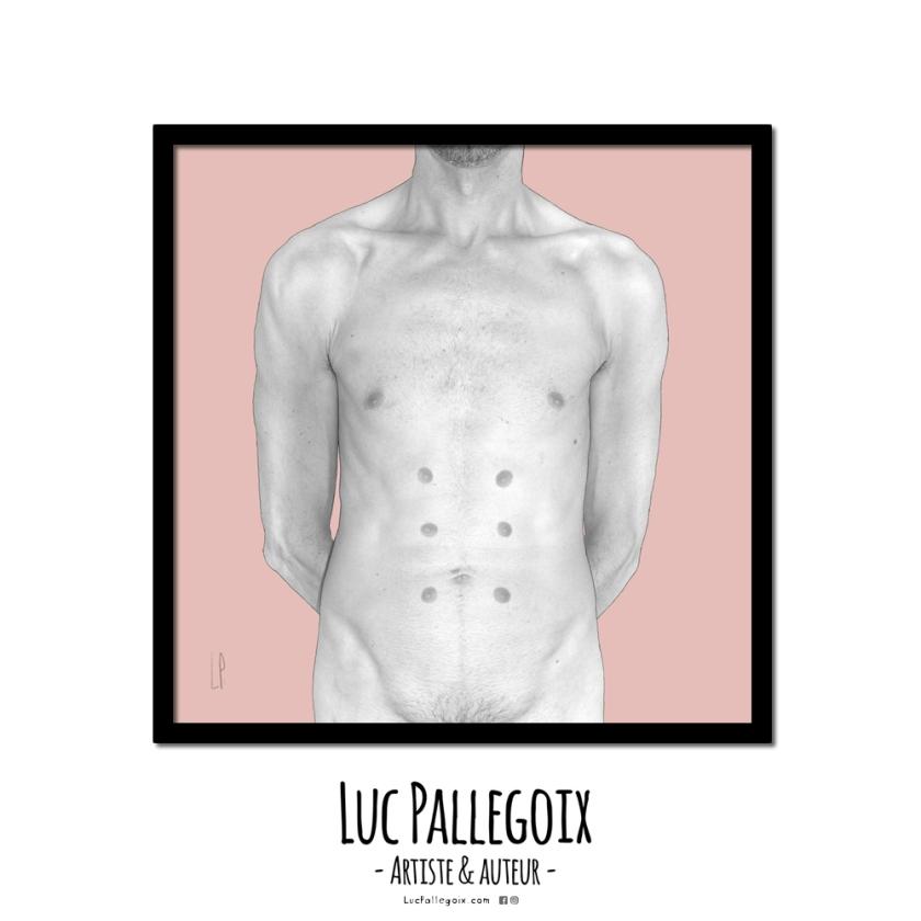 Tablette de chocolat au lait / Luc Pallegoix, 2014. Encre pigmentaire sur papier Moab blanc 300 gr. 10 ex. [23x23 cm] encadré en noir. 180 $ + taxes