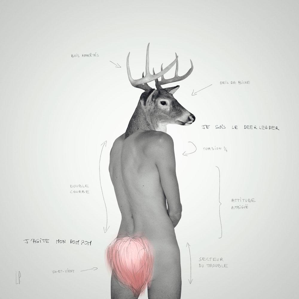 THE DEERLEADER #3 / Luc Pallegoix, 2013. Encre pigmentaire sur papier Moab blanc 300 gr. Disponible en grand format |50 x 50 cm 5 ex.| ou moyen format | 23 x 23 cm 10 ex. |