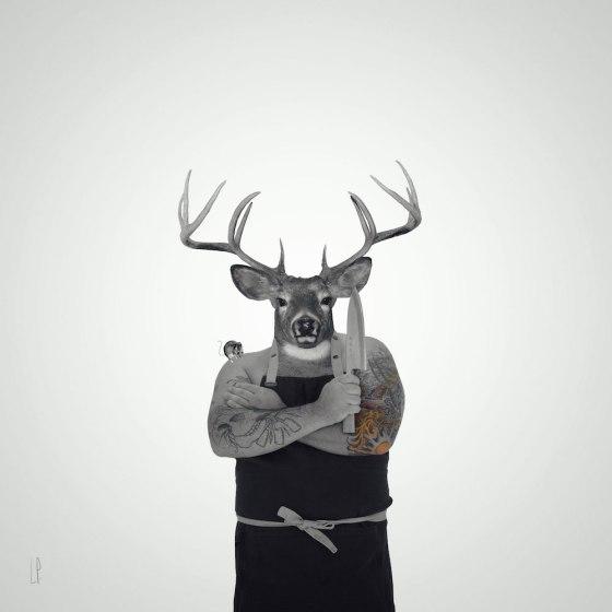 Chef chevreuil / Luc Pallegoix, 2015. Encre pigmentaire sur papier Moab blanc 300 gr. Disponible en grand format |50 x 50 cm 5 ex.| ou moyen format | 23 x 23 cm 10 ex.Trois autres numéros sont réservés pour des très grands formats.