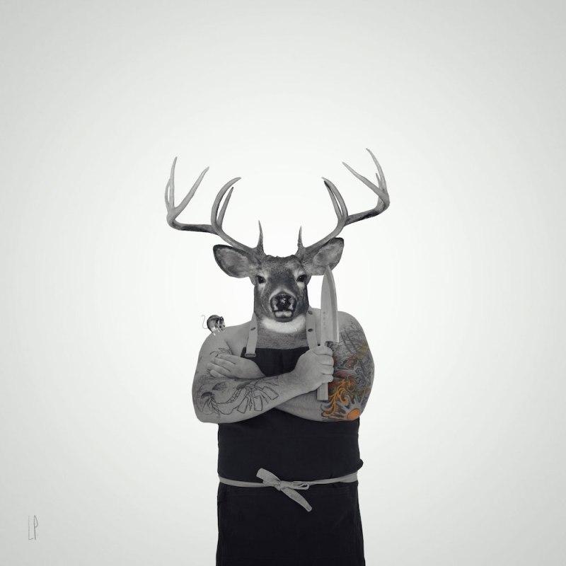 Chef chevreuil / Luc Pallegoix, 2015. Encre pigmentaire sur papier Moab blanc 300 gr. Disponible en grand format  50 x 50 cm 5 ex.  ou moyen format   23 x 23 cm 10 ex.Trois autres numéros sont réservés pour des très grands formats.