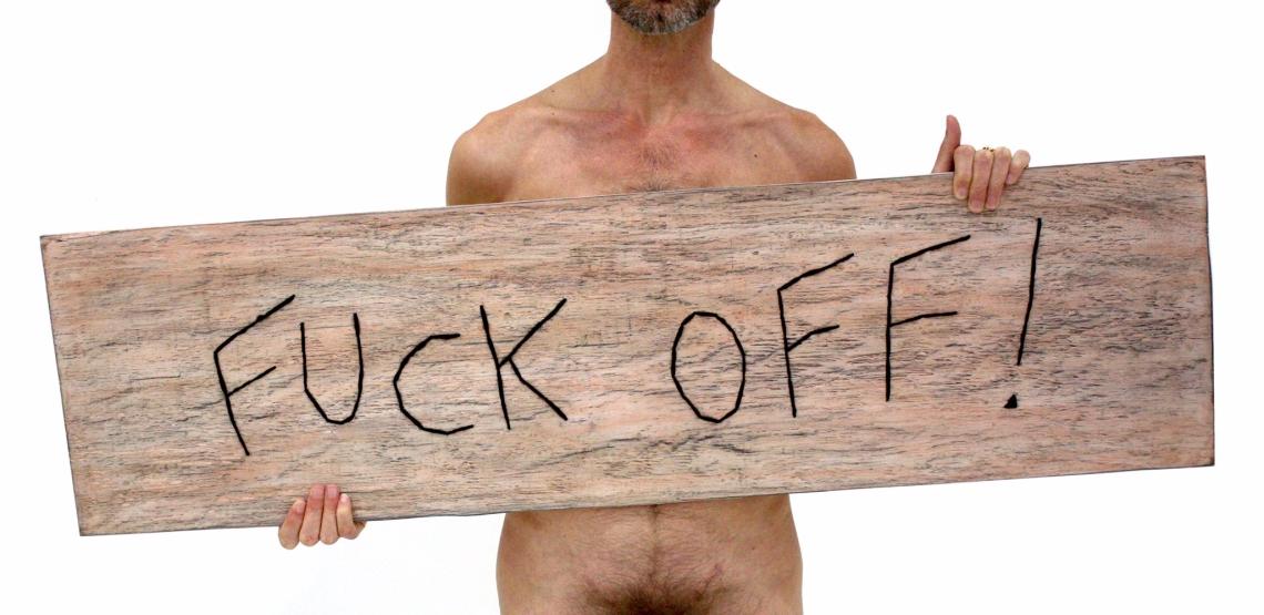 Fuck off ! / Luc Pallegoix, 2015. Série : Planches brodées – Embroidered board. Acrylique sur bois brodé au Phentex, 125 x 33 cm.