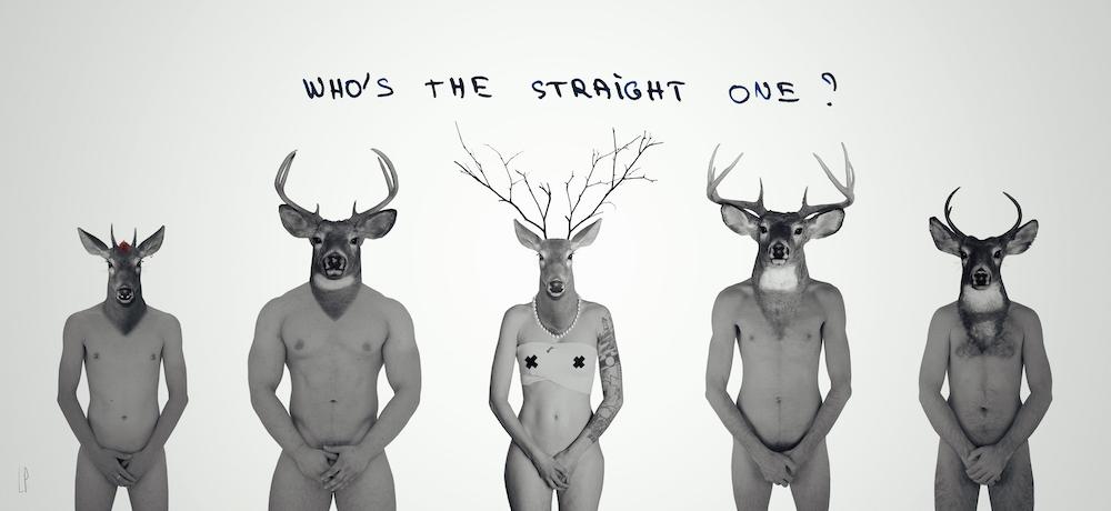 Who's the straight one #2 ?/ Luc Pallegoix, 2015. Encre pigmentaire sur papier Moab blanc 300 gr. Disponible en grand format |30 x 88 cm 5 ex.| ou moyen format | 23 x 50 10 ex. |. Trois autres numéros sont réservés pour des très grands formats.