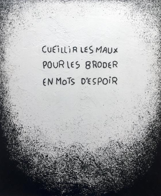 Entrée du paradis #3 / Luc Pallegoix, 2019. Série : Planches brodées – Embroidered board Acrylique sur bois brodé à la laine, 22 x 24 pouces.